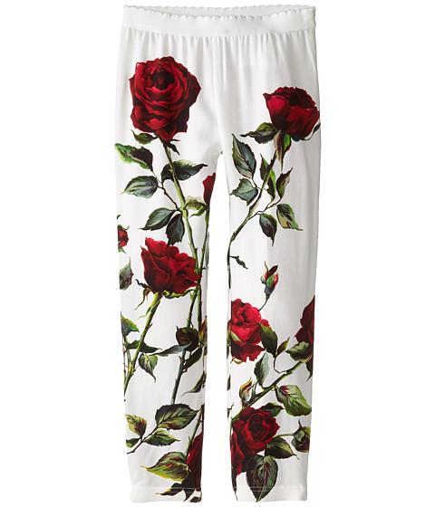 Dolce & Gabbana - Ceremony Rose Print Leggings (Big Kids) (White/Rose Print) Women's Casual Pants