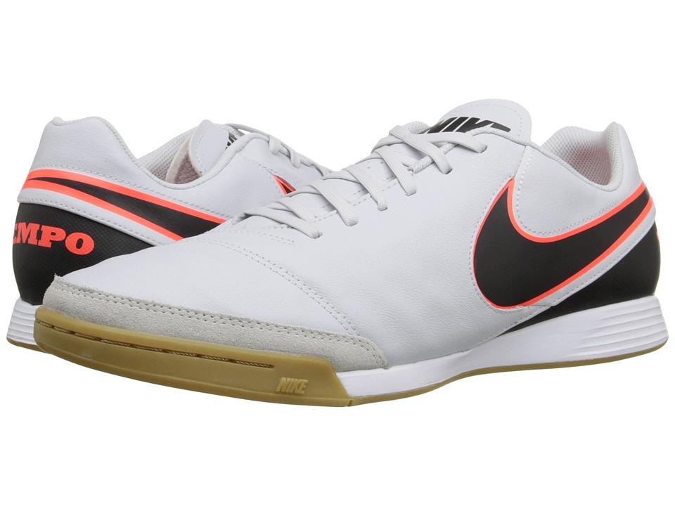 Nike - Tiempo Genio II Leather IC (Pure Platinum/Black/Hyper Orange) Men's Soccer Shoes