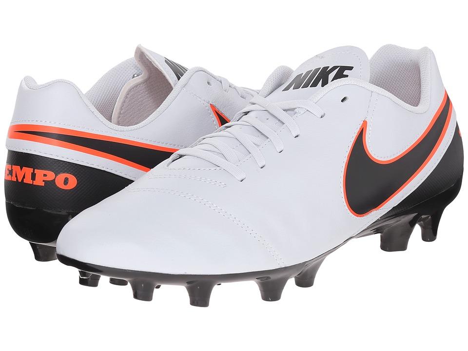 Nike - Tiempo Genio II Leather FG (Pure Platinum/Black/Hyper Orange) Men's Soccer Shoes