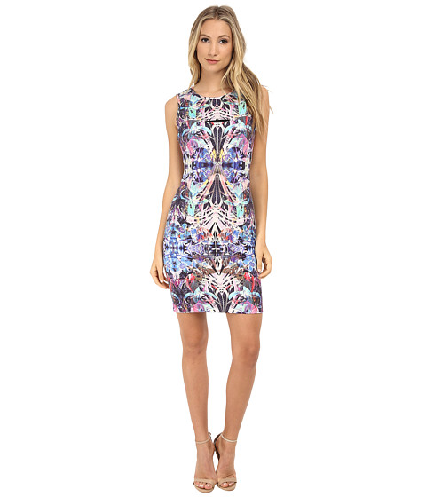 Nicole Miller - Rainforest Peak-A-Book Ponte Dress (Multi) Women