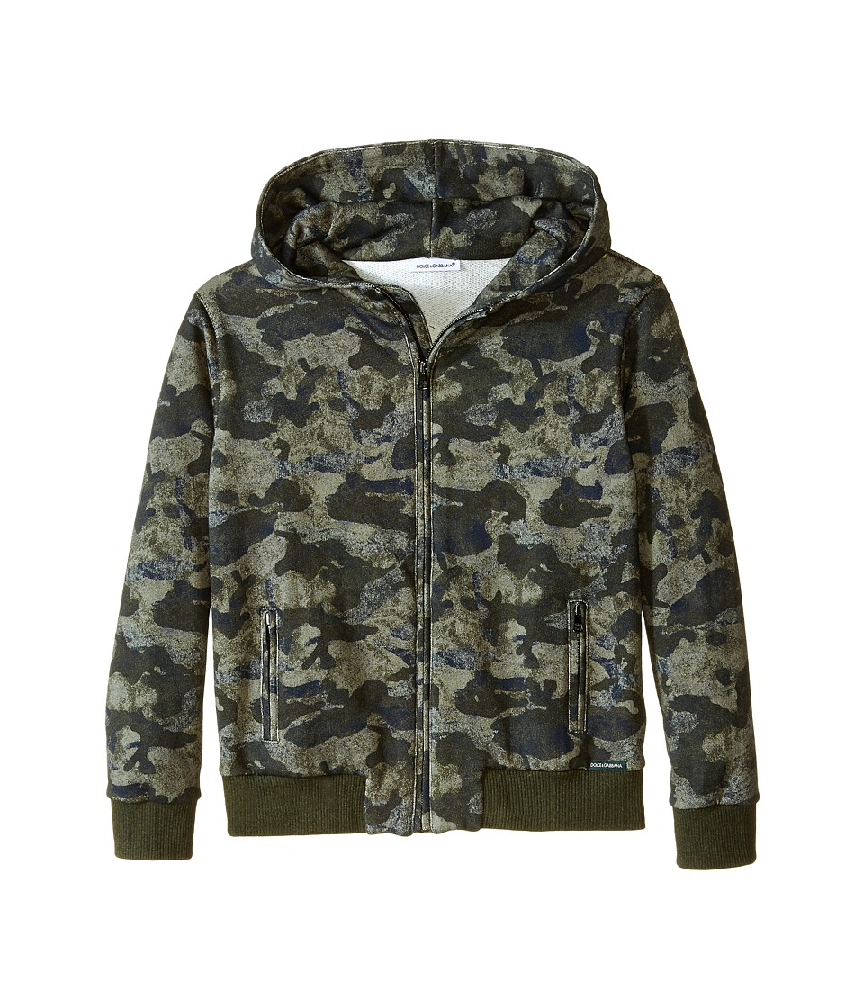 Dolce & Gabbana - Camo Print Hoodie (Toddler/Little Kids) (Green Camo) Men's Sweatshirt