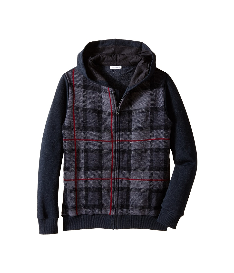 Dolce & Gabbana Kids - Plaid Zip-Up Hoodie (Big Kids) (Grey/Grey Check) Boy
