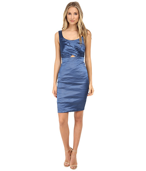 Nicole Miller - Peek-A-Book Techno Dress (Ocean) Women