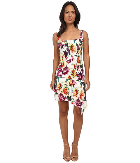 Nicole Miller - Leafly Drape Silk Rosa Dress (White) Women