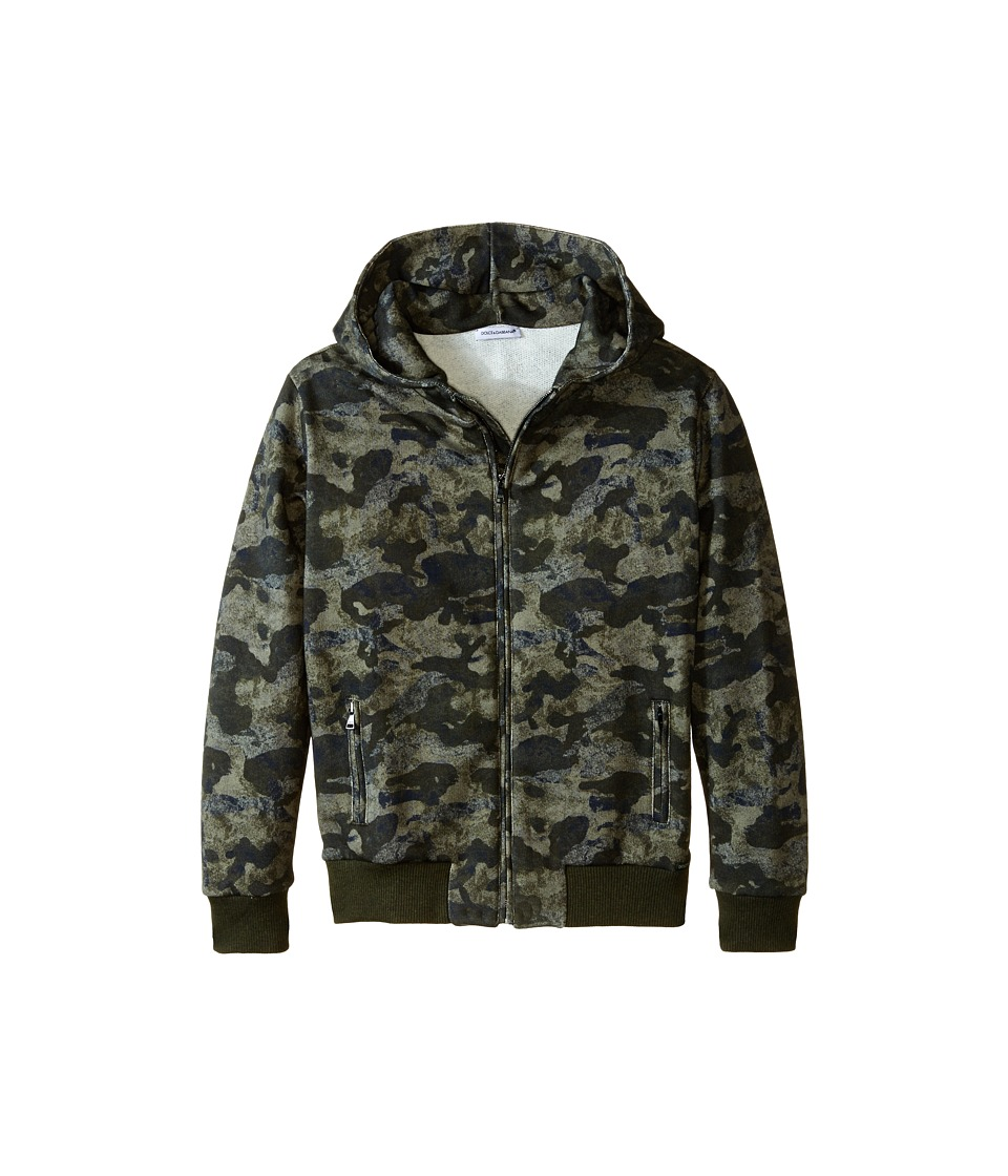 Dolce & Gabbana Kids - Camo Print Hoodie (Big Kids) (Green Camo) Boy