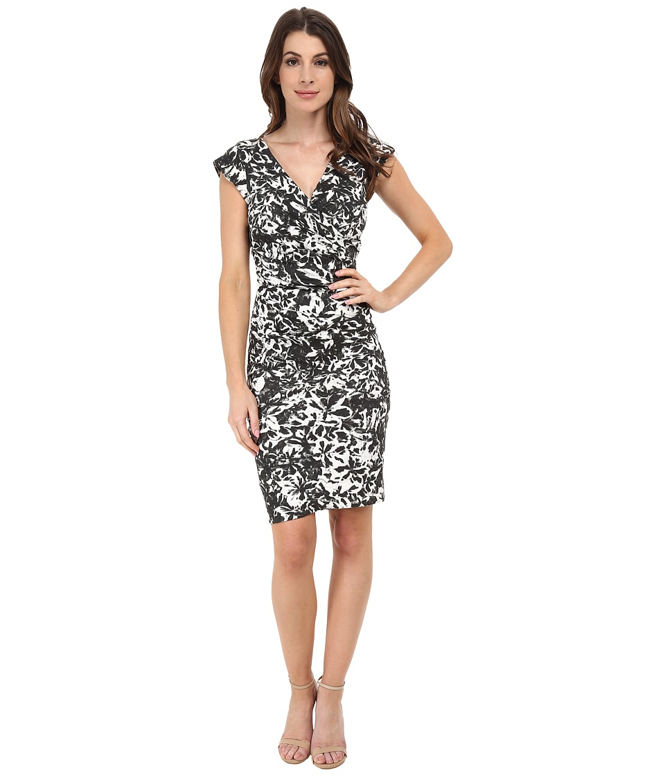Nicole Miller Beckett Electromagnetic Flora Dress (Black/White) Women