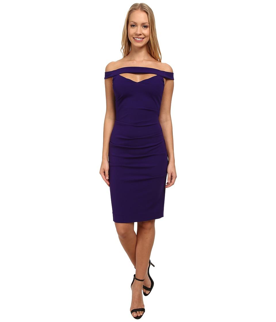 Nicole miller triangle cutout party dress majestic purple women s