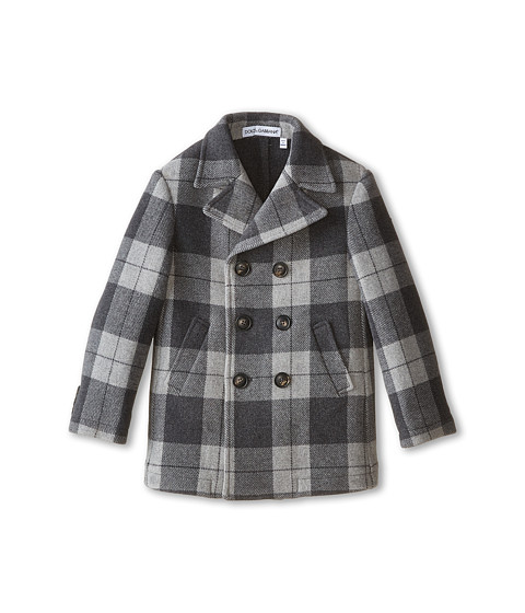 Dolce & Gabbana - Tartan Peacoat (Toddler/Little Kids) (Grey/Dark Grey) Men's Coat