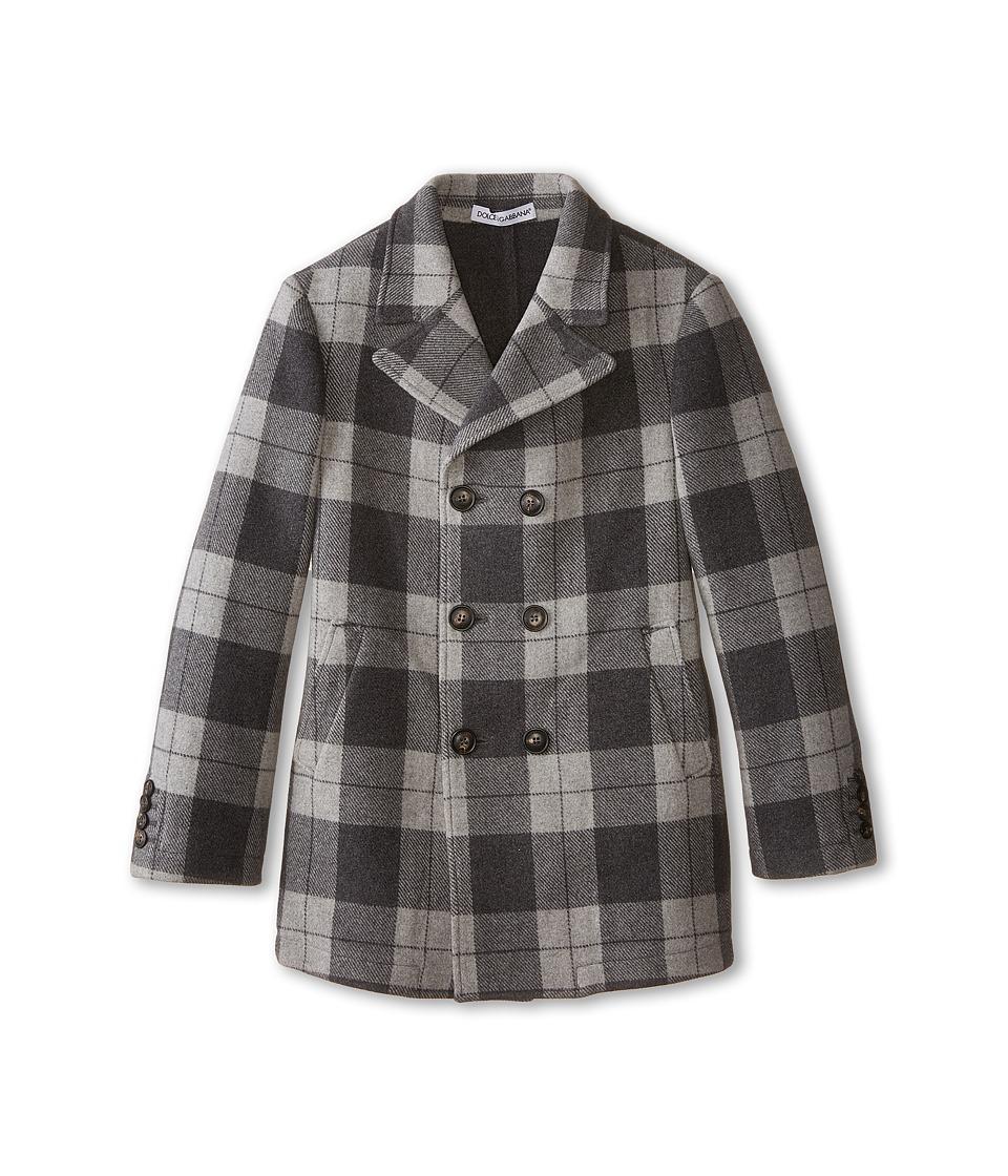 Dolce & Gabbana - Tartan Peacoat (Big Kids) (Grey/Dark Grey) Men