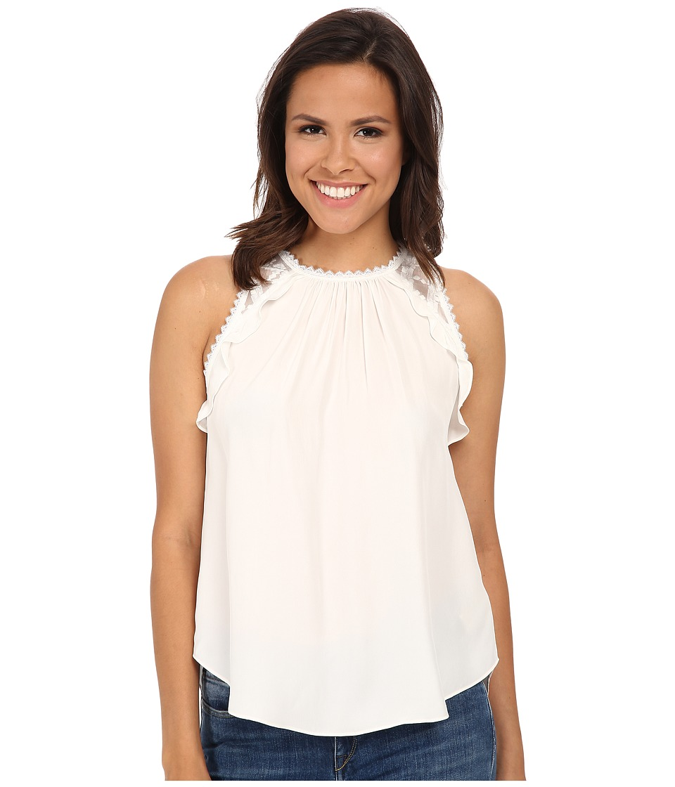 Rebecca Taylor - Sleeveless Embelished Chiffon Top (Chalk) Women's Sleeveless