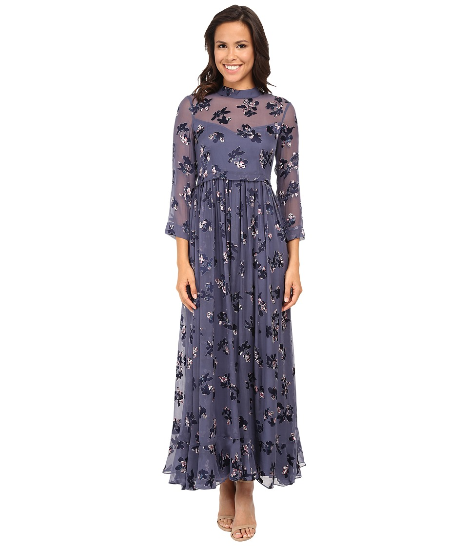 Rebecca Taylor - Long Sleeve Alyssum Print Maxi Dress (Pavement Combo) Women's Dress