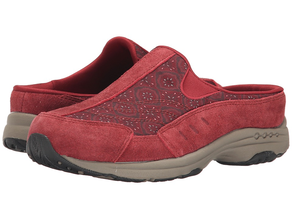 Easy Spirit - Traveltime (Dark Red/Red Multi Suede) Women's Clog Shoes