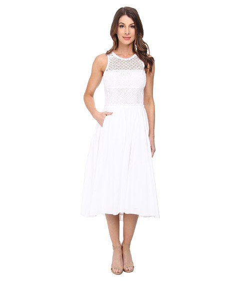 Rebecca Taylor - Sleeveless Maise Eyelet Midi Dress (Sea Salt) Women