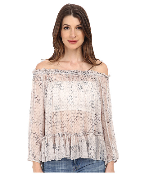 Rebecca Taylor - Long Sleeve Box Step Off Shoulder Top (Queen Pink) Women's Long Sleeve Pullover