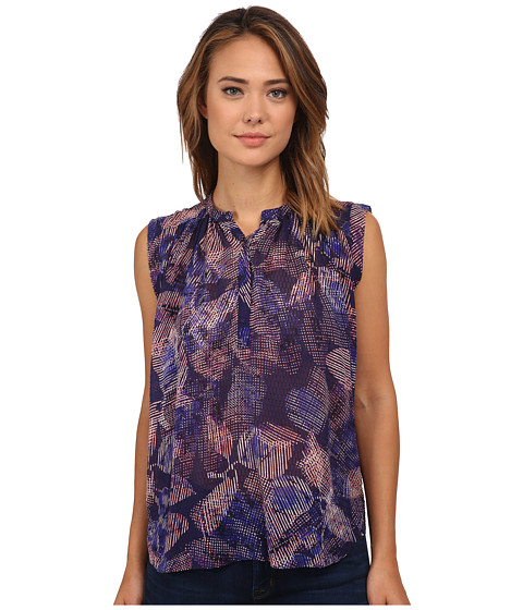 Rebecca Taylor - Sleeveless Garden Clip Top (Deep Purple Combo) Women