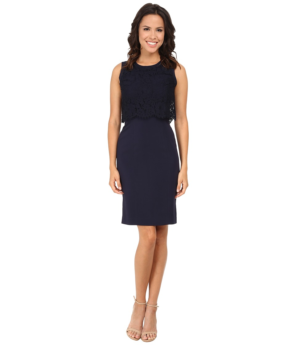 Rebecca Taylor - Sleeveless Suiting Dress with Lace (Navy) Women's Dress