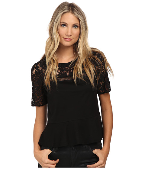 Rebecca Taylor - Short Sleeve Guipure Tee with Ruffle (Black) Women's T Shirt