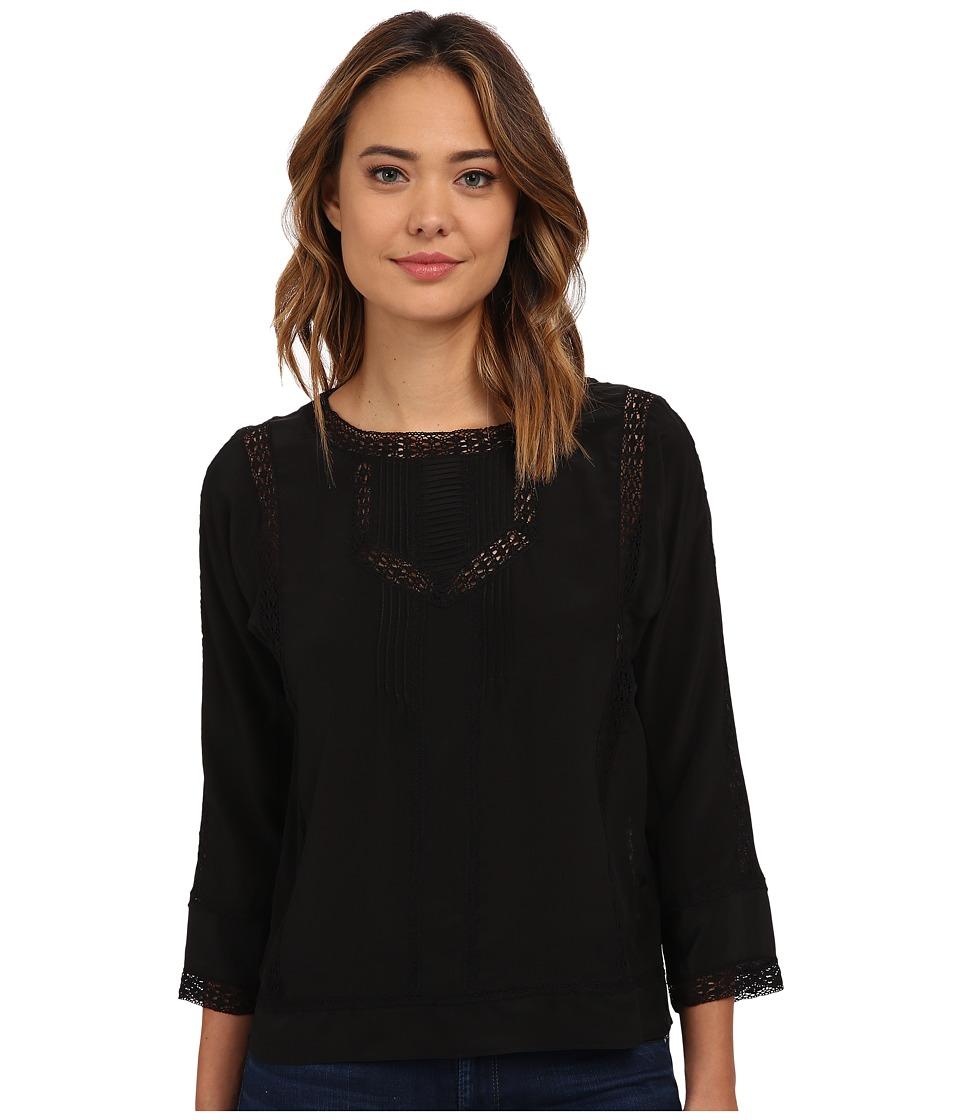 Rebecca Taylor - Long Sleeve Silk Lace Pintuck Top (Black) Women