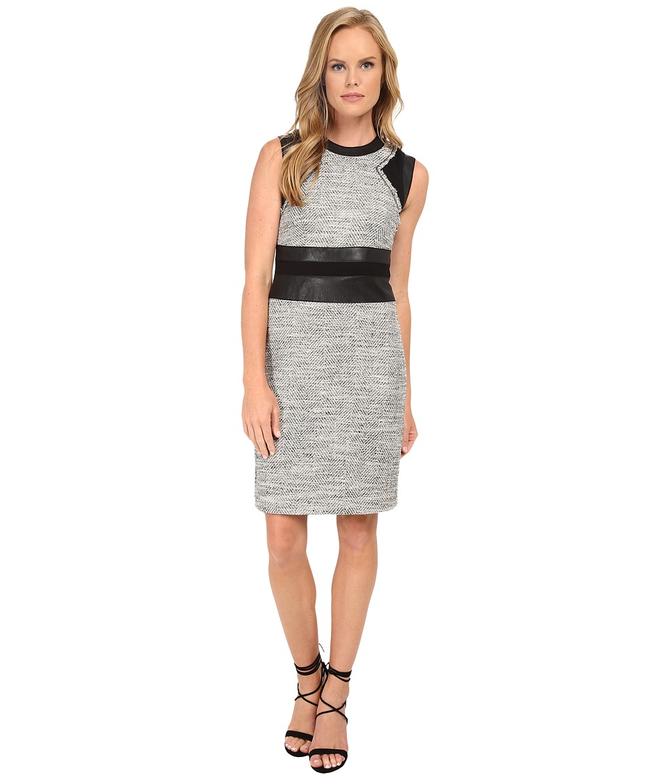 Rebecca Taylor - Sleeveless Canyon Tweed Shift Dress (Black/White Combo) Women's Dress