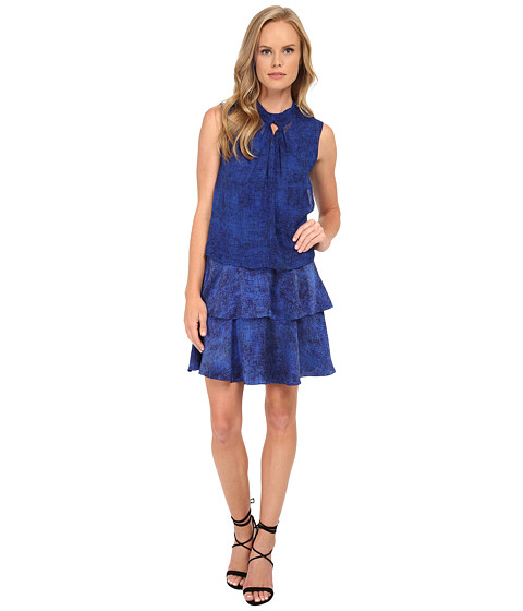 Rebecca Taylor - Sleeveless Static Twist Neck Dress (Blue Combo) Women