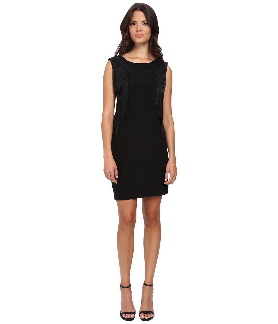 Rebecca Taylor Sleeveless Fringe Jersey Dress (Charcoal Melange) Women