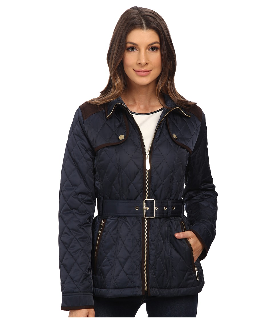 Vince Camuto - Belted Quilted Jacket J1611 (Navy) Women's Coat