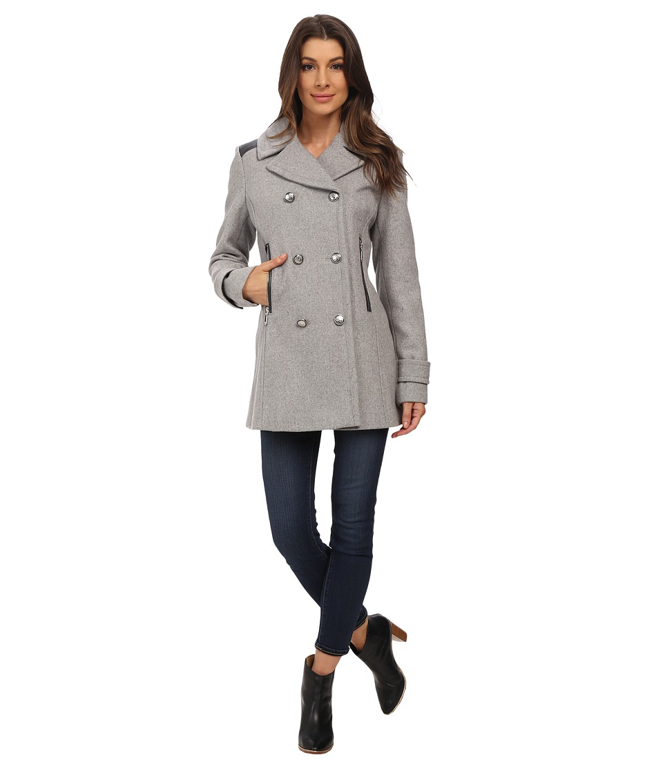 Vince Camuto - Double Breasted Military Wool J8001 (Light Grey) Women's Coat