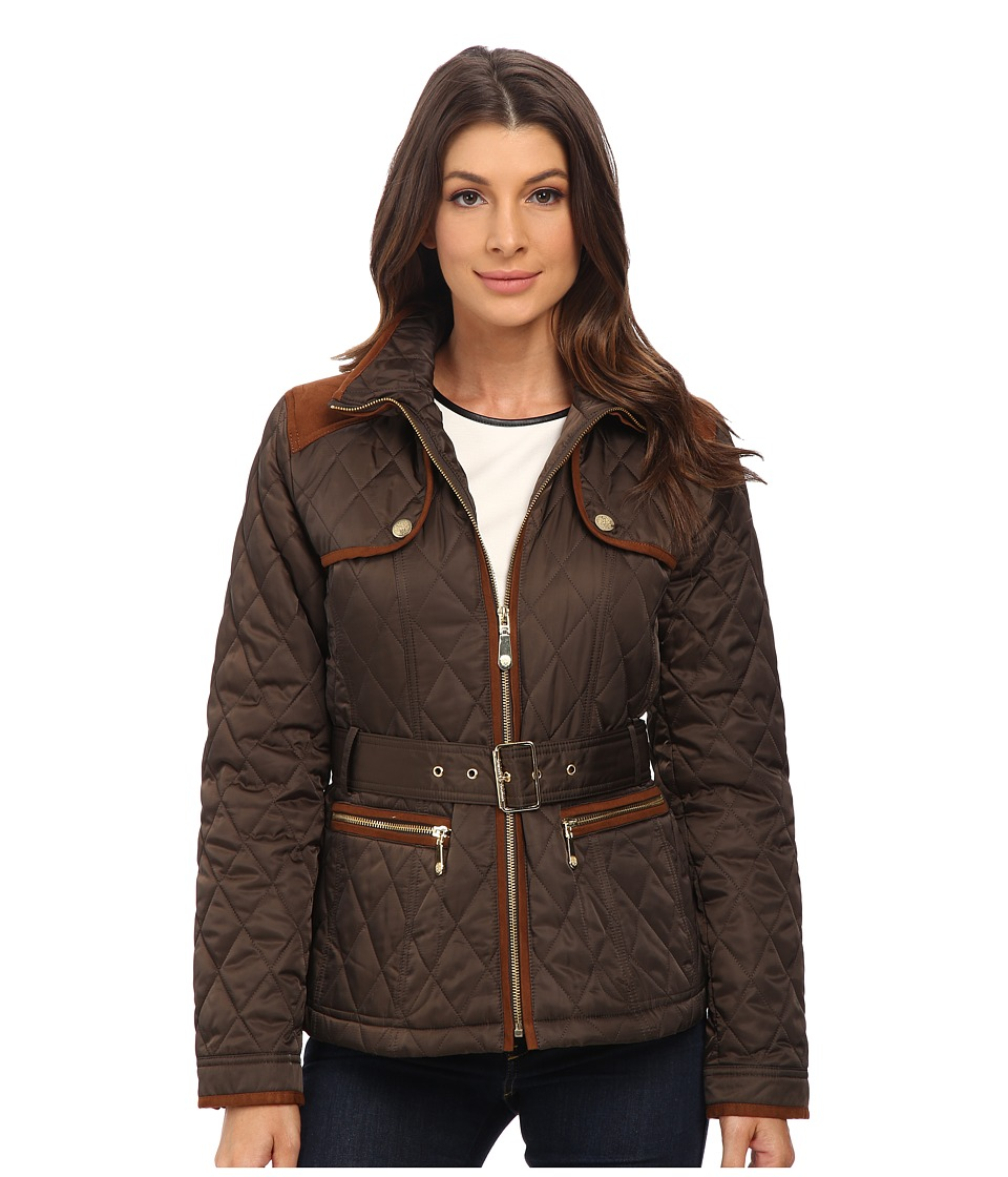 Vince Camuto - Belted Quilted Jacket J8021 (Bark) Women's Coat
