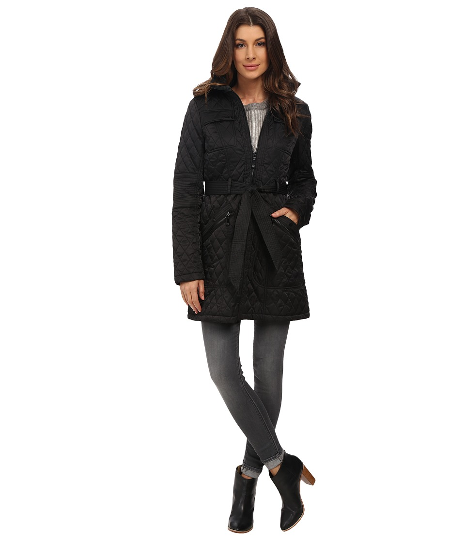 Vince Camuto - Belted Quilted Long Jacket J1641 (Black) Women's Coat