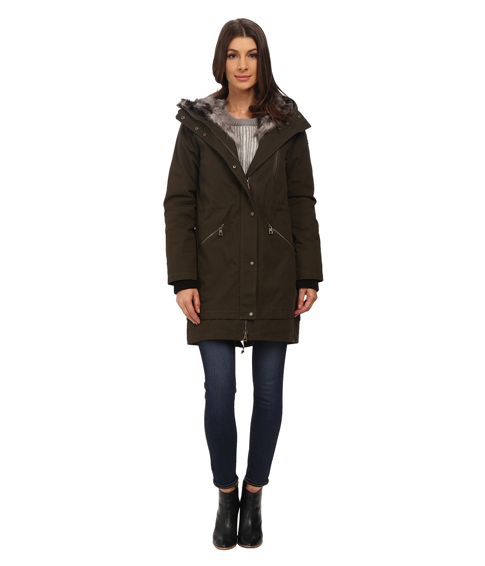 Vince Camuto - Parka with Faux Fur Lined Hood J8851 (Dark Olive) Women's Coat