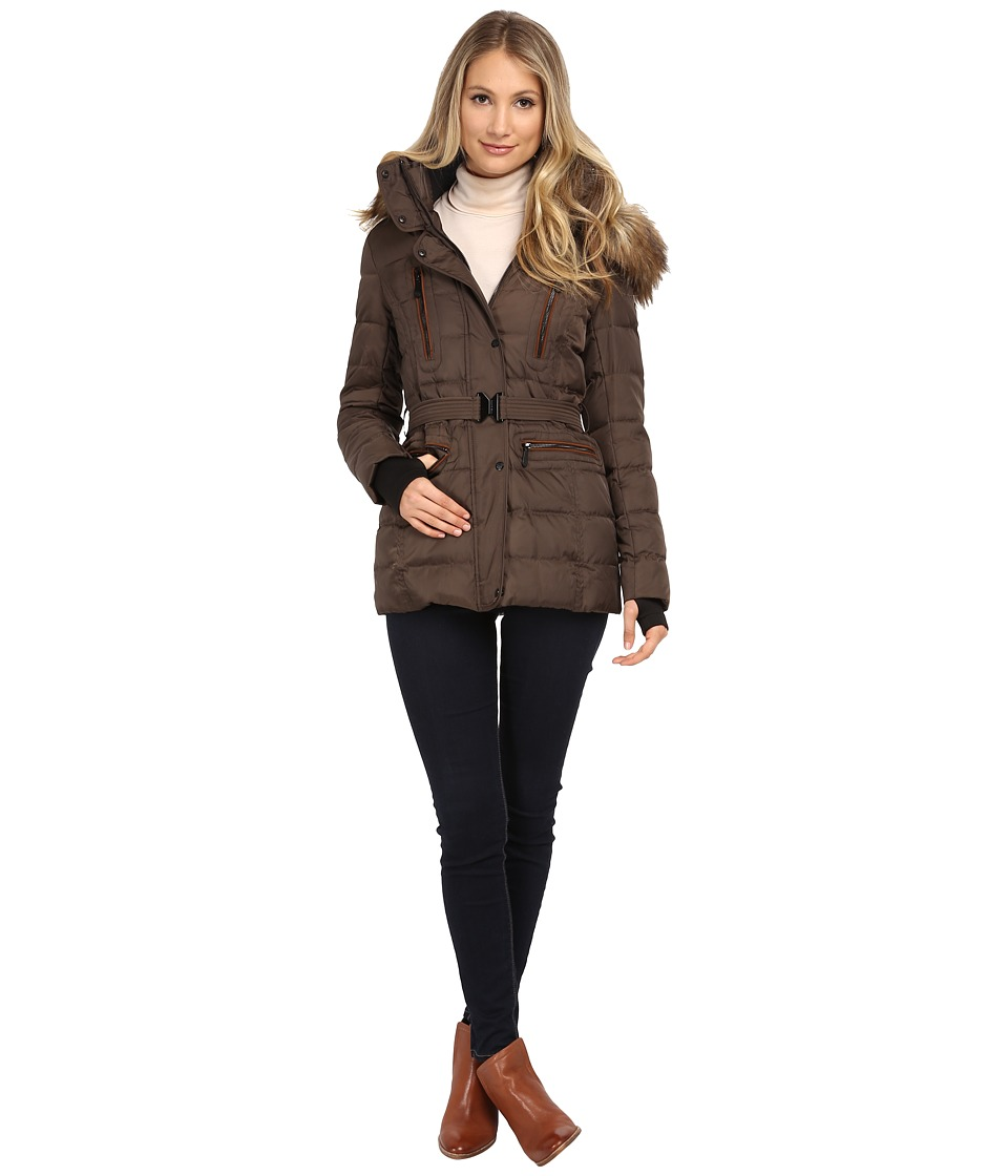 Vince Camuto - Belted Down with Faux Fur Trim J8581 (Bark) Women's Coat