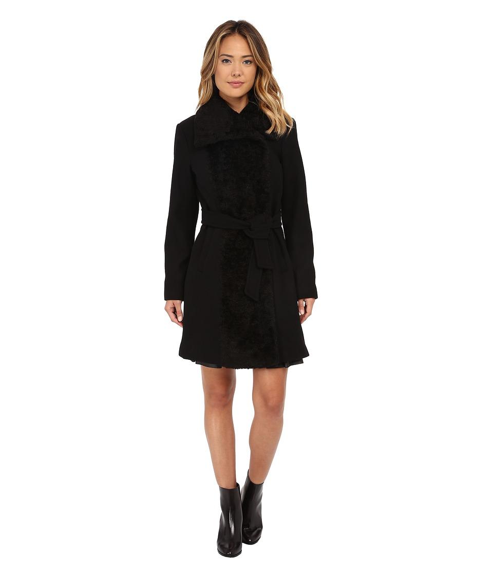 Vince Camuto - Belted Sherpa Detail Wool Coat J8431 (Black) Women's Coat