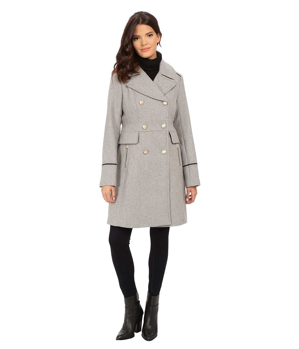 Vince Camuto - Double Breasted Long Military Wool Coat J8201 (Light Grey) Women's Coat
