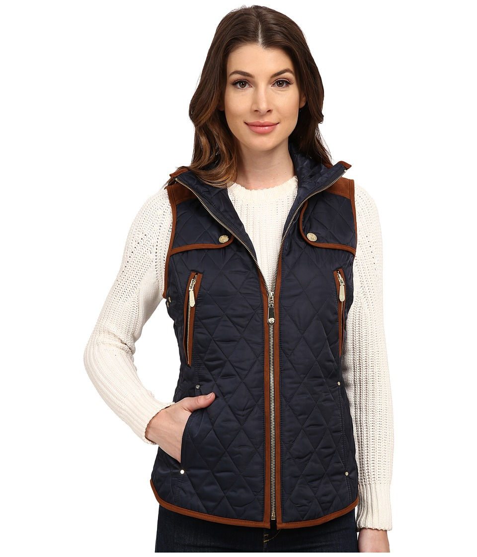 Vince Camuto - Quilted Vest J8611 (Navy/Cognac) Women's Vest