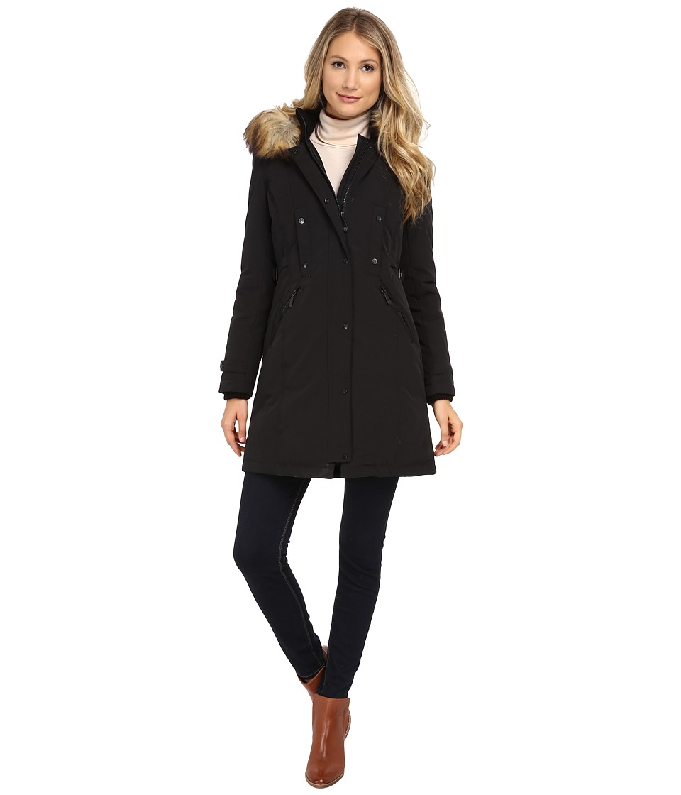 Vince Camuto - Single Breasted Matte Fabrication Down with Faux Fur Lined Hood J1721 (Black) Women's Clothing