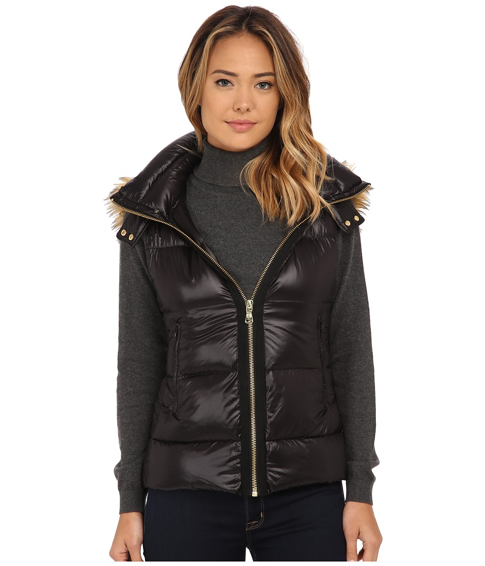 Vince Camuto - Light Weight Down Vest with Faux Fur Trim Hood J1741 (Black) Women's Vest