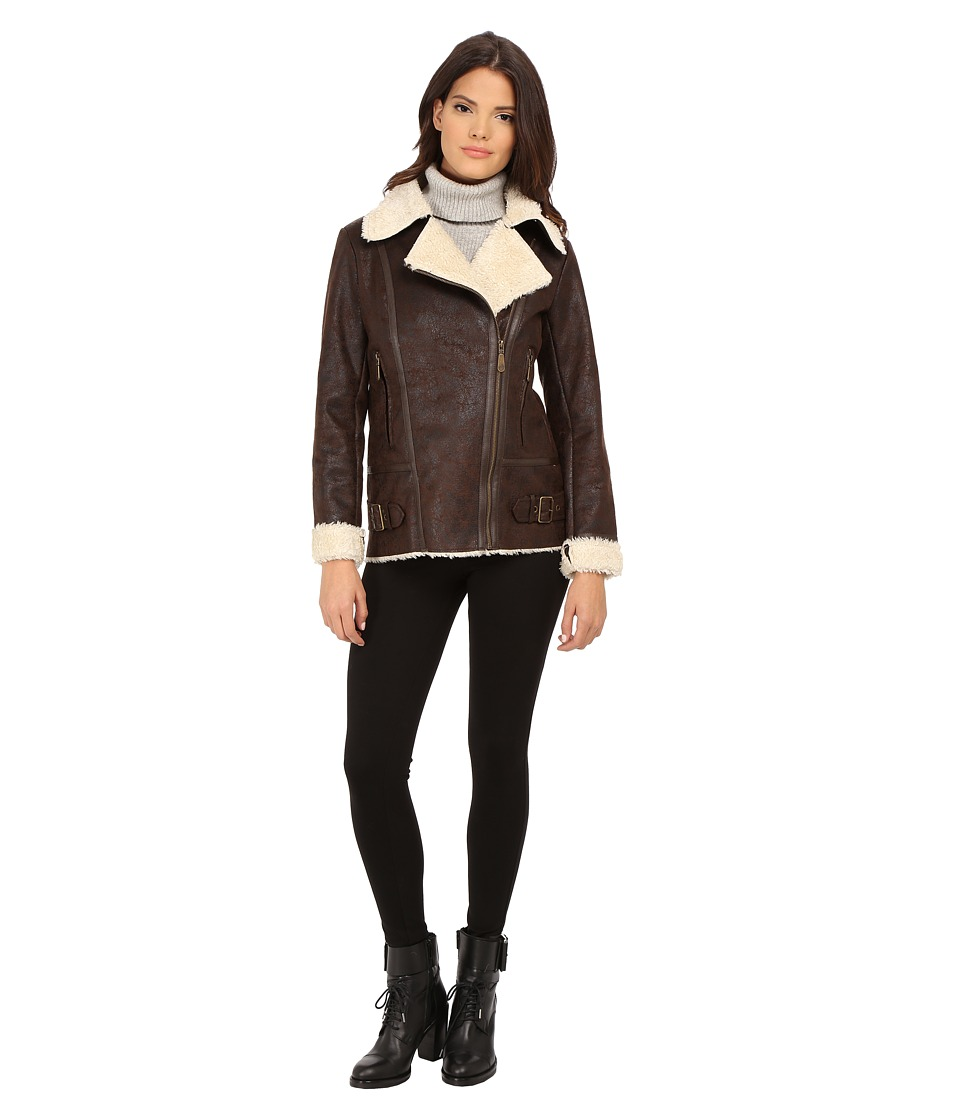 Vince Camuto - Asymmetical Faux Shearling With Sherpa Collar J8491 (Dark Brown) Women's Clothing