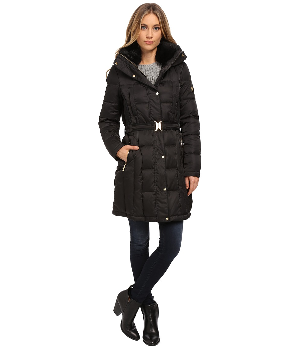 Vince Camuto Belted Down with Faux Fur Trim Collar J8601 (Black) Women