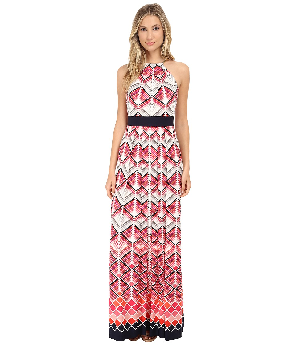 Eliza J - Halter Maxi with Inset Waist Metal Neck Piece (Print) Women's Dress
