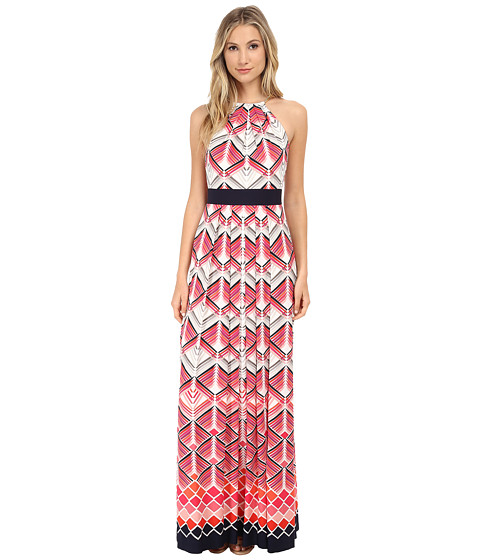 Eliza J - Halter Maxi with Inset Waist Metal Neck Piece (Print) Women