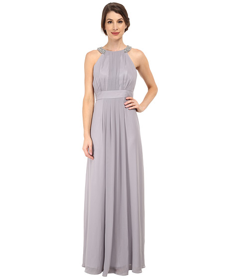 Eliza J - Chiffon Gown with Beaded Neckband (Silver) Women
