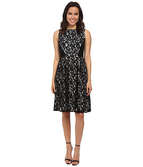 Calvin Klein - Lace Fit Flare Dress (Black) Women's Dress
