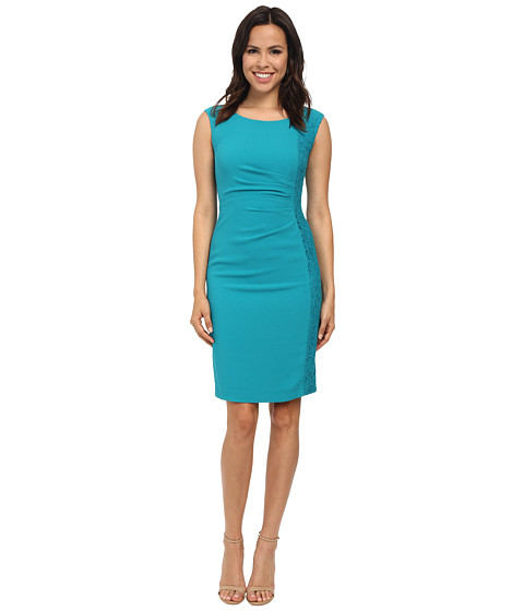 Calvin Klein - Sheath w/ Lace Side Panel (Lagoon) Women's Dress