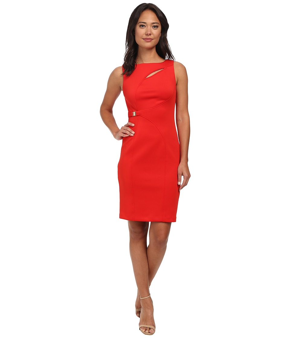 Calvin Klein - Sheath w/ Cutout at Neck (Fire) Women's Dress