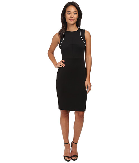 Calvin Klein - Color Block Sheath Dress (Black/White) Women