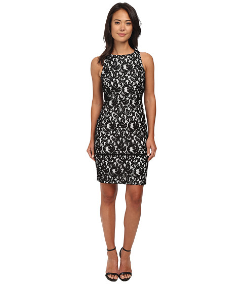 Calvin Klein - Lace Sheath Dress (Black/Cream) Women's Dress