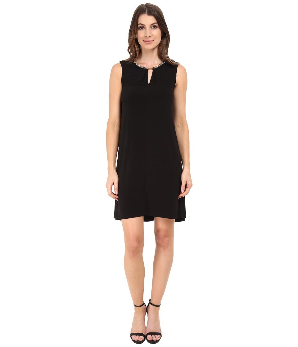 Calvin Klein Jersey Flared Dress w/ Chain at Neckline (Black) Women