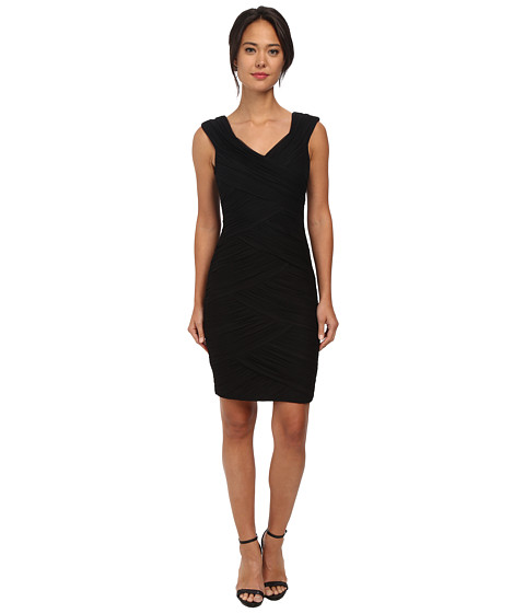 Calvin Klein - Crisscross-Pleat Bodycon Cocktail Dress (Black) Women's Dress