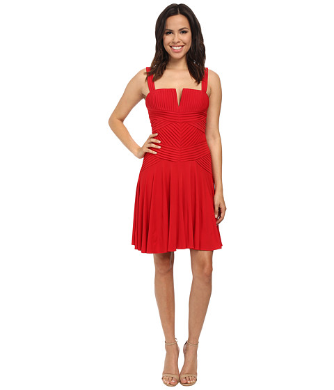 Calvin Klein - Pin Tuck Fit Flare Dress (Red) Women's Dress
