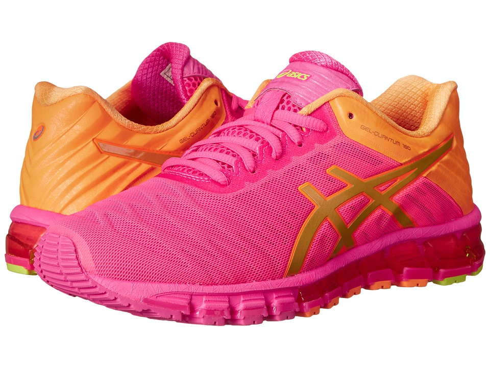 ASICS - GEL-Quantum 180 (Hot Pink/Gold/Orange Pop) Women's Running Shoes